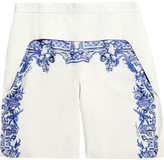 Printed leather shorts