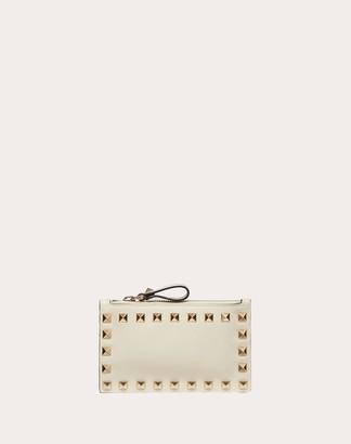 Valentino Rockstud Calfskin Cardholder With Zipper Women Light Ivory Calfskin 100% OneSize