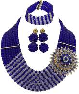 Africanbeads Royal Blue white CrystalBride Jewelry Set Wedding African Costume Beads