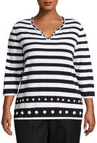 Alfred Dunner Upper East Side Stripe Sweater- Plus