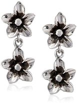 Zina Sterling Silver Double Flower Drop Earrings