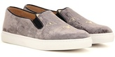 Charlotte Olympia Cool Cats Embroidered Velvet Slip-on Sneakers