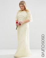 Asos BRIDAL Flutter Sleeve Maxi Dress with 3D Floral Embellisment