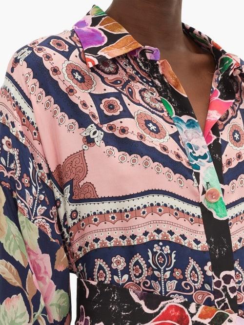 Thumbnail for your product : RIANNA + NINA Vintage Patchwork Silk Maxi Shirt Dress - Multi