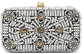 From St Xavier Hannah Box Clutch in Metallic Silver.
