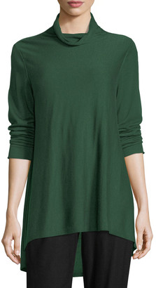 Eileen Fisher Sleek Scrunch-Neck Knit Top