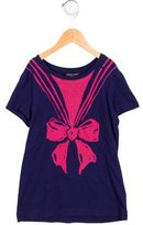 Little Marc Jacobs Girls' Bow Print Short Sleeve Top