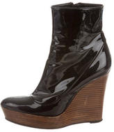 Barbara Bui Patent Leather Wedge Ankle Boots