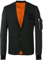 Les Hommes zipped pocket applique blazer