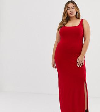 Club L London Plus Plus square neck detail slinky maxi dress-Red