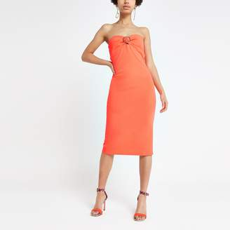 River Island Womens Bright Orange bandeau midi dress