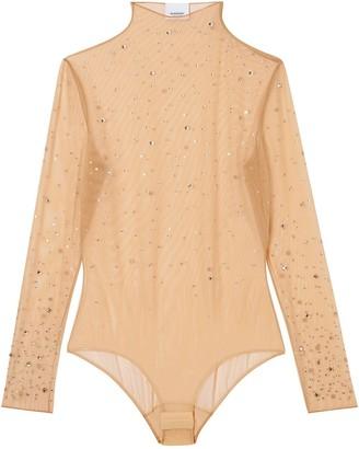 Burberry Crystal-Embellished Tulle Bodysuit