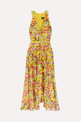 Saloni Rita Wrap-effect Floral-print Devore-chiffon Midi Dress - Yellow
