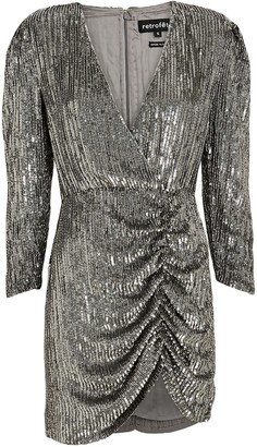 retrofete Stacey Sequin Ruched Mini Dress