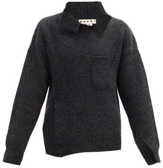 Marni Distressed Oversized Virgin-wool Sweater - Dark Grey