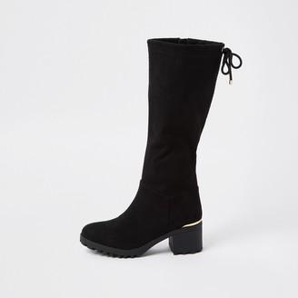 River Island Girls Black embossed snake knee high boot