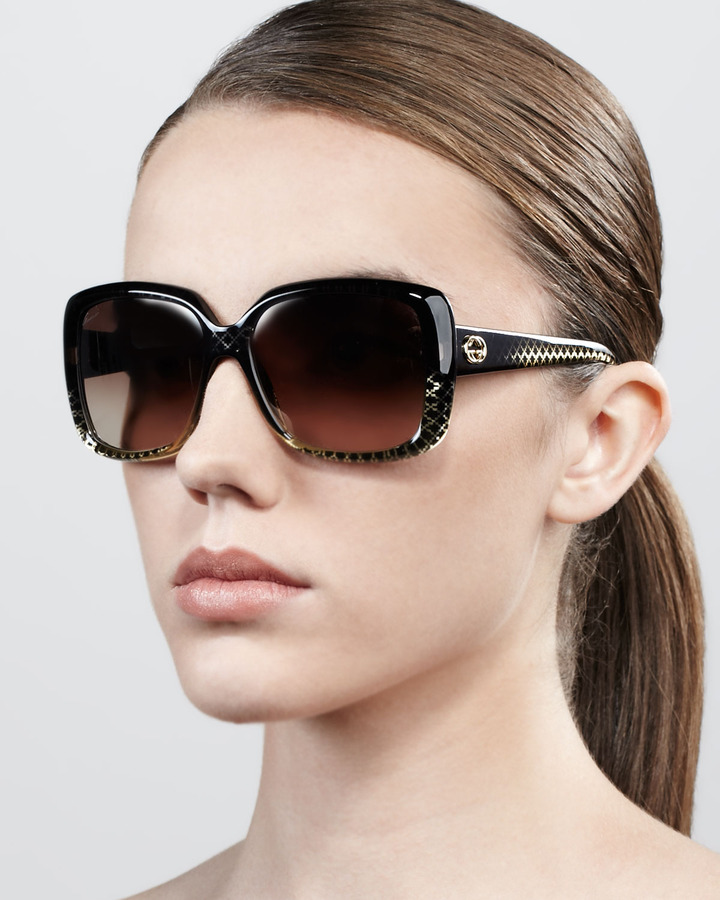 Gucci Oversized Square Diamond-Pattern Sunglasses, Black/Golden