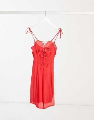 Topshop ruche front mini dress in red