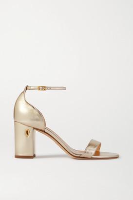 Jennifer Chamandi Massimo 85 Embellished Metallic Leather Sandals - Gold
