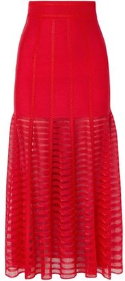Alexander McQueen Paneled Stretch And Open-knit Midi Skirt