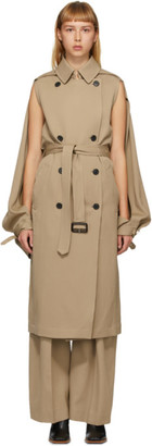 J.W.Anderson Beige Open Sleeve Cape Trench Coat