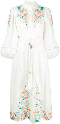 Zimmermann Fiesta Applique balloon sleeved midi dress