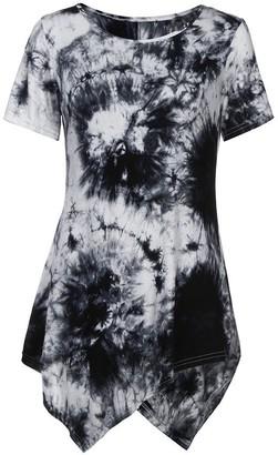 Yusealia Women Blouse Yusealia Womens Tie Dyeing Shirts Clearance Ladies Casual O-Neck Short Sleeve Irregular Blouse Loose Comfy T Shirt Summer Clothes Tunic Tops for Teen Girls Black