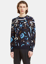 Fendi Men's Garden Print Crew Neck Knit Sweater In Navy