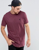 Asos Longline T-Shirt With Logo In Red