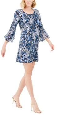 MSK Petite Bell-Sleeve Paisley Dress
