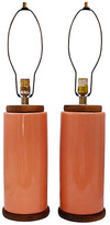 One Kings Lane Vintage Mid-Century Ceramic Table Lamps - Set of 2 - coral