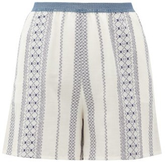 ZEUS + DIONE Ios Embroidered Voile Shorts - White Multi