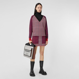 Burberry Houndstooth Check Technical Merino Wool Sweater