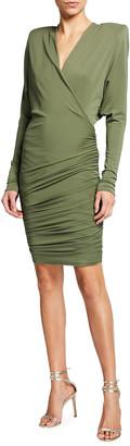 Alexandre Vauthier Ruched Jersey V-Neck Mini Dress