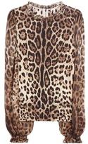 Dolce & Gabbana Leopard-print Stretch-silk Blouse