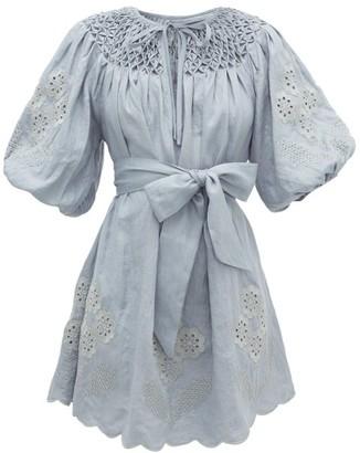 Innika Choo Hans Ufmafrok Embroidered Linen Dress - Womens - Blue