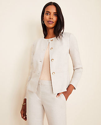 Ann Taylor The Peplum Jacket in Crosshatch