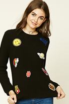 Forever 21 Open-Knit Patch Sweater