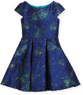 Zoë Ltd Cap-Sleeve Celestial Jacquard Fit-and-Flare Dress, Blue, Size 7-16