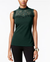 Thalia Sodi Mock-Neck Lace Illusion Top, Only at Macy's