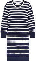 Equipment Marta Striped Silk And Cashmere-blend Sweater Dress - Navy