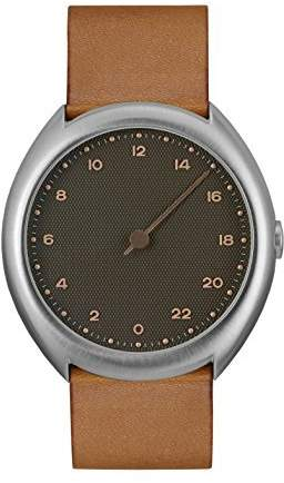 Slow O 09 - Brown Vintage Leather Silver Case Anthracite Dial Unisex Quartz Watch with Grey Dial Analogue Display and Brown Leather Strap