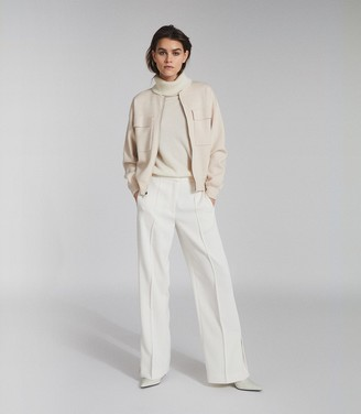 Reiss Ilah - Twin Pocket Zip Through Jumper in Neutral