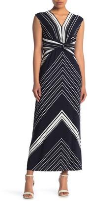 London Times Cap Sleeve Twist Front Maxi Dress (Petite)
