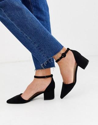 Raid RAID Julia black ankle strap black mid block heeled shoes