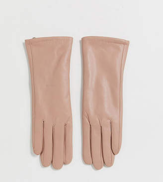 My Accessories London Exclusive gloves in blush leather look with touch screen-Pink