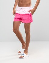 Asos Swim Shorts With Pink Panels In Short Length