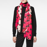 Paul Smith Women's Pink And Red 'Rose' And Polka Dot Print Scarf