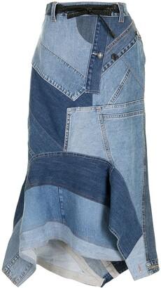 Tom Ford Patchwork-Detail Denim Skirt