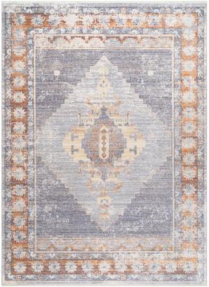 """nuLoom Vintage Persian Medallion Fringe Area Rug, Blue, Blue, 6'7""""x9'"""